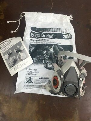 3M Half Mask Reusable Respirator 6100 Size Small (Mask Only)