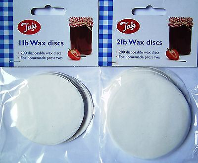 200x 1lb or 2lb Tala Wax Discs Covers Jam Preserves Chutney Pickle Homemade Seal