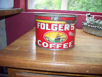 Folgers vintage 1940's coffee can tin 1 LB.