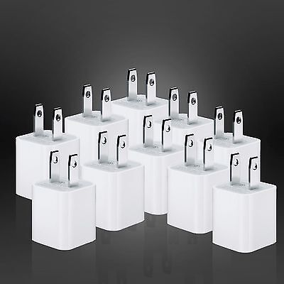 ( 10x ) OEM Factory USB Wall Adapter Charger for Apple 8 7+ 6 6+ 5 Cube Charge
