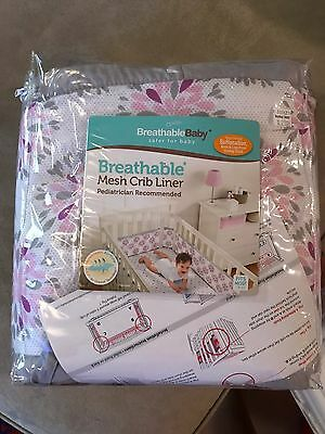 Breathable Baby Mesh Crib Liner Bumper Pink & White & Grey
