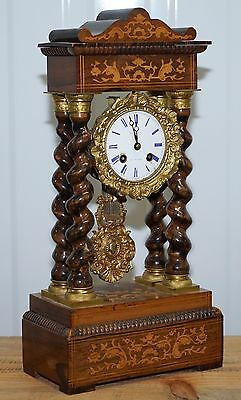 Antique French Gold Gilt Portico Clock Face Stamped Breguet A Paris Rosewood