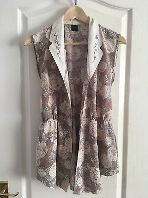 Vintage Floral Print Waistcoat Size Small