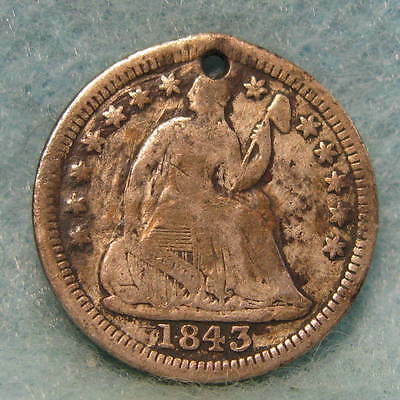 1843 Seated Liberty Silver Half Dime Small Hole Shattered Die Rev. US Coin #1154