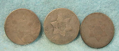 3 Piece Three Cent Silver Lot 1852 & 2 No Dates * Circulated US Coin #1185