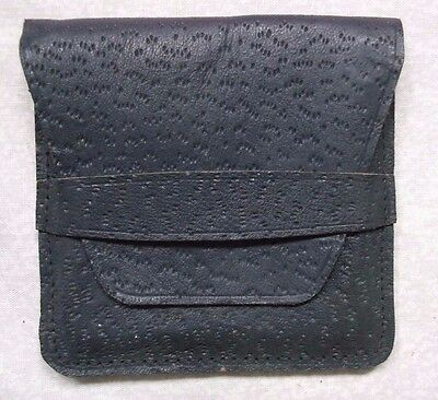 VINTAGE RETRO REAL LEATHER CIGARETTE CASE WALLET EMBOSSED 1960s 1970s GREY MOD
