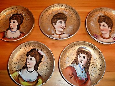 Antique rare porcelain butter pat dishes/ hand-painted, Victorian Ladies Lot of