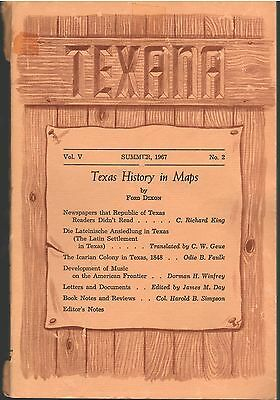 Summer 1967 Journal TEXANA Texas Maps Sisterdale Icarian Colony Frontier Music