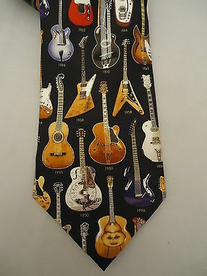MUSEUM ARTIFACTS Tie All Silk CLASSIC GUITARS 1910-1996 Collectible Hand Made