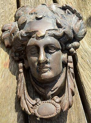 RARE ORIGINAL VICTORIAN  Large Heavy Brass Roman Face Door Knocker