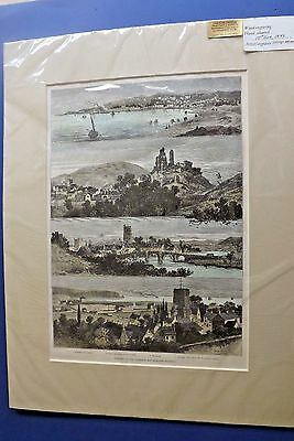1885 Hand Coloured Engraving by Clough Bromley Opening Wareham~Swanage Railway