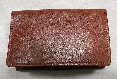 VINTAGE RETRO REAL LEATHER TRI-FOLD TAN CREDIT DEBIT BUSINESS CARD WALLET 1980s