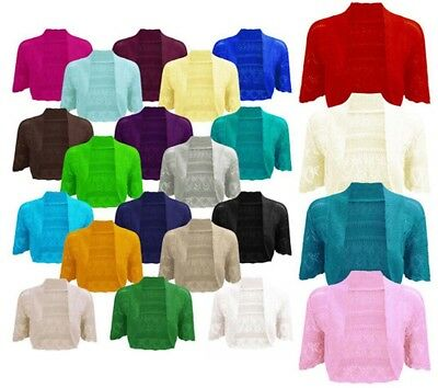 Womens Crochet Knitted Short Sleeve Shrug Ladies Cardigan Bolero Top Plus S-4XL