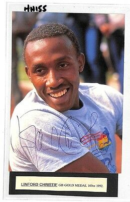 HH155 GB Linford Christie Gold Medal 100m 1992 Olympics Signed PTS