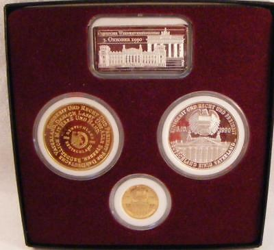 1990 Reunification of Germany Medals Set With Gold & Silver