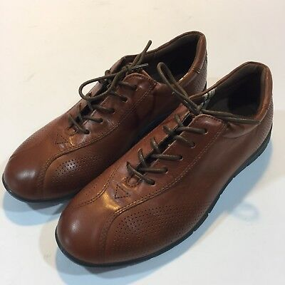 ECCO Women's Brown Leather Lace Up Casual Oxford Shoes Size EURO 38 US 7 - 7.5