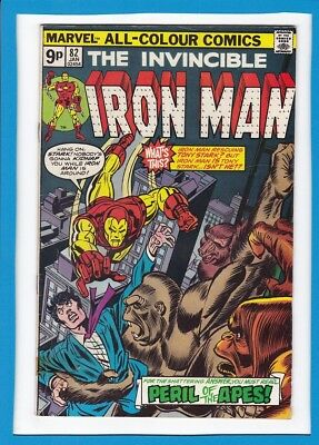 """Invincible Iron Man #82_Jan 1976_Good/very Good_Red Ghost_""""peril Of The Apes""""_Uk"""