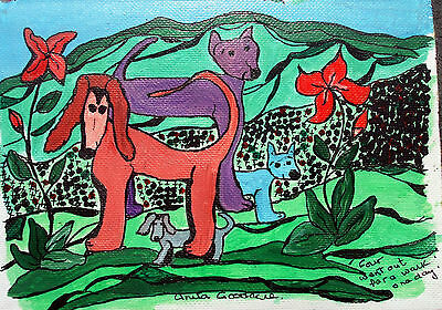 """Painting and Ink Original by Anita. 4 dogs, hills flowers countryside """"Four ...."""