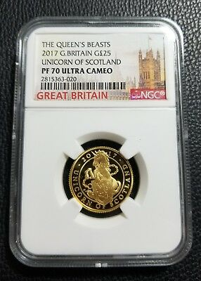 2017 GBritain Gold 1/4 OZ £25 Queen's Beasts Unicorn NGC PF70 FR-Only1500 Coins!