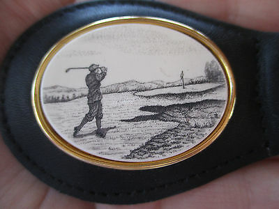 Authentic Stephen Barlow Leather Scrimshaw Reproduction Key Ring