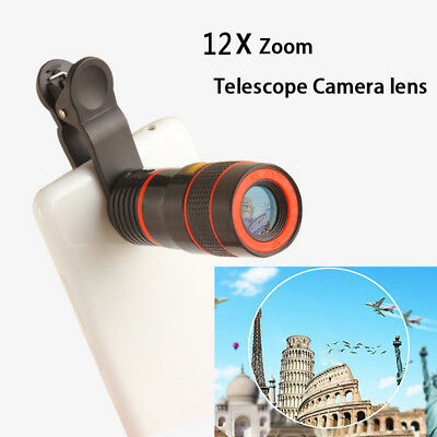 Clip-on 8X 12X Optical Zoom Telescope Camera Lens For Samsung Galaxy S8/ S8 Plus
