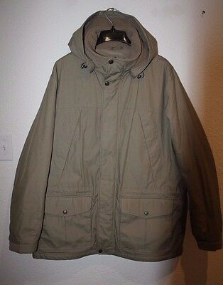 Pacific Trail Men 2XL Zip Winter Jacket Coat Hooded Beige Insulated EUC