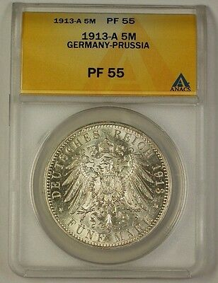 1913-A Germany-Prussia Five Mark Silver Coin ANACS PF-55 NOT PROOF