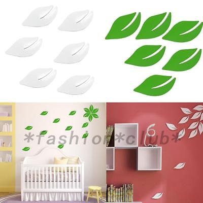 New Hot 6Pcs 3D Wall Sticker Wooden Leaves Art Home Room Door Decoration