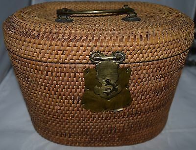 Antique Chinese Woven Wicker Travel Picnic Basket & Small Lidded Basket  c1860