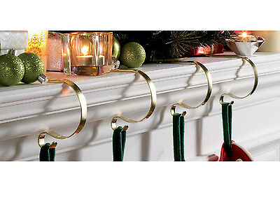 Set Of 4 Brass Mantle Clips Fireplace Christmas Stocking Holders Mantel