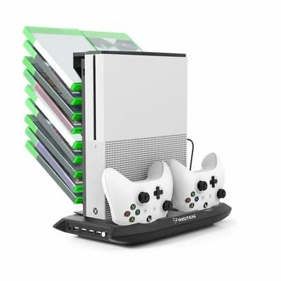 Xbox One S Vertical Stand Cooling Fan Controller Charging Station Game Holder