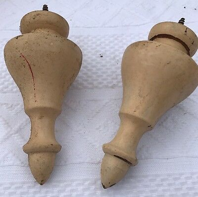 2 Antique architectural turned wood rod bed finials curtain Tie Backs Hooks