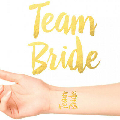 TEAM BRIDE/ BRIDE TO BE TEMPORARY TATTOOS Gold Funky Hen Party Night Accessories