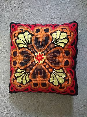 Vintage Retro Pattern Hand Made Tapestry Cushion (1970s)
