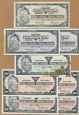 CANADIAN TIRE MONEY - 5, 10, 25 Cents - 8 Note Lot