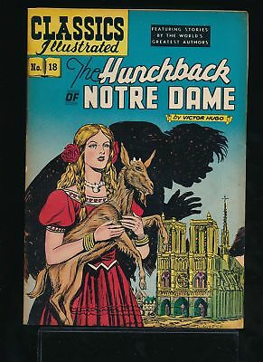 THE HUNCHBACK OF NOTRE DAME 1950s Classics Illustrated Comic #18 HRN 60 VG/FN