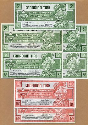 CANADIAN TIRE MONEY - 5X5 & 2X10 Cents - 7 Note Lot