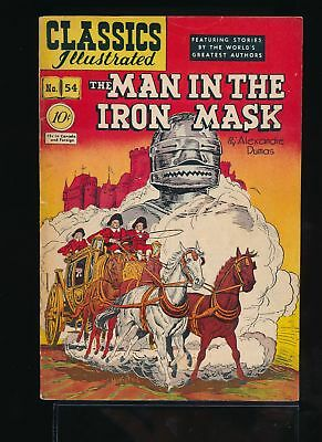 THE MAN IN THE IRON MASK 1948 Classics Illustrated Comic #54 (O) 1st Ed VG/F