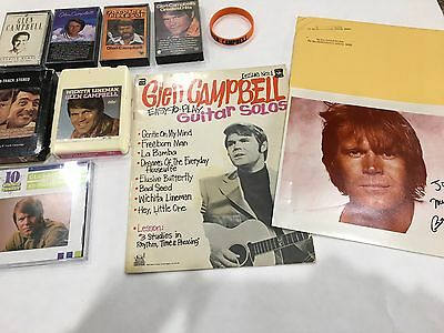 GLEN CAMPBELL SIGNED AUTOGRAPH PHOTO 1980 CD 8 Track Cassette Tape Lot