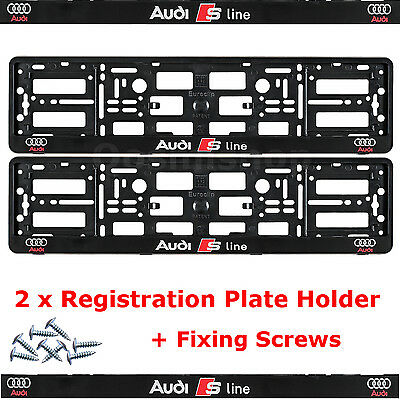 2 x NEW EDITION License Number Plate Holder Surround for New Audi S-Line Car +F