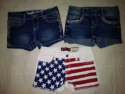 Girls size 12 Jean Shorts 3 PAIR New & Preowned Arizona Jeans American Flag