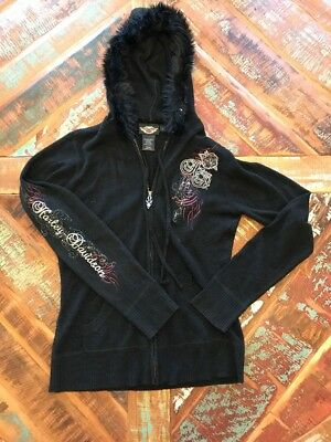Women's Harley Davidson Sweater Hooded Sweatshirt Embroidered Size Medium Rose