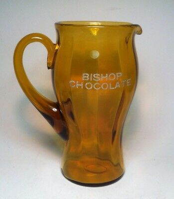 rare Bishop Chocolate pitcher amber depression glass advertising 1920s