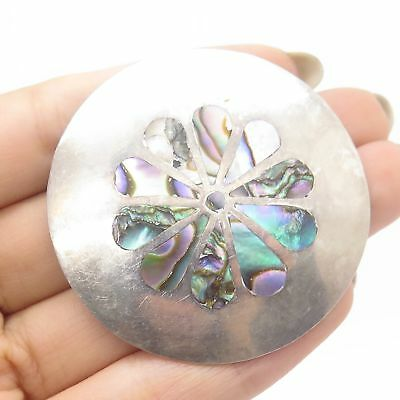 Vtg Mexico 925 Sterling Silver Real Abalone Shell Pendant Pin Brooch
