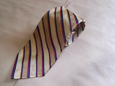 Vintage Men's Paul Stuart Silk Tie Hand Made in USA Gold Red Blue Purple Striped