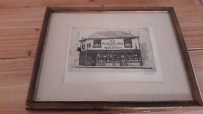 """Vintage """"Old Curiosity Shop"""" signed etching by Cecil Forbes"""