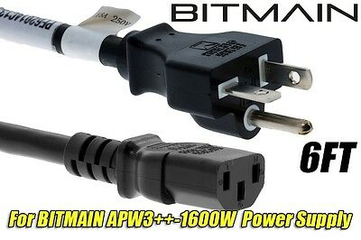 BITMAIN APW3++ HEAVY DUTY 220v Power Cord for Antminer D3, L3+, S9