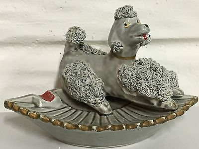 "Vintage Grey Spaghetti Glass 3""Poodle Ashtray Made in Japan - REPAIRED TAIL"