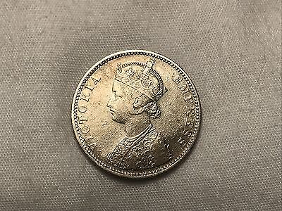1887 Queen Victoria British India 1 One Rupee Silver Coin