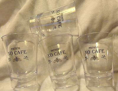 Set of 4 Patron XO Cafe Tequila - Plastic Shot Glasses...Clear Plastic